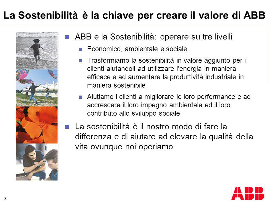 3 La Sostenibilità è la chiave per creare il valore di ABB ABB e la Sostenibilità: operare su tre livelli Economico, ambientale e sociale Trasformiamo