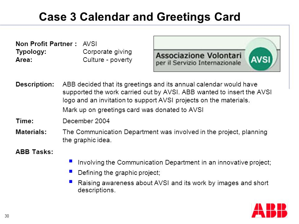 30 Case 3 Calendar and Greetings Card Description:ABB decided that its greetings and its annual calendar would have supported the work carried out by