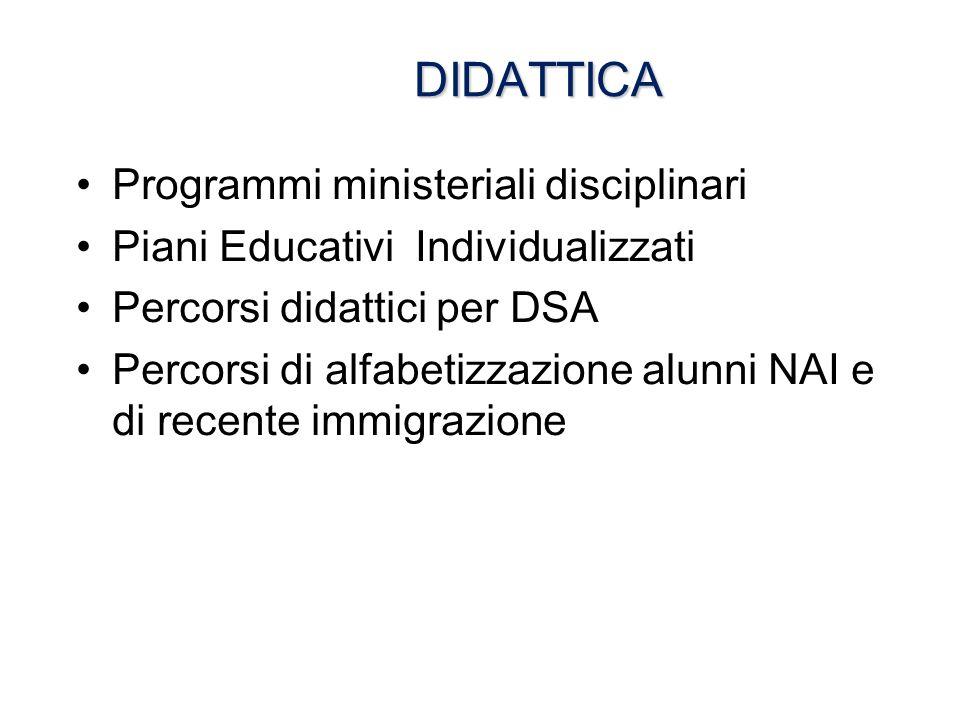 DIDATTICA DIDATTICA Programmi ministeriali disciplinari Piani Educativi Individualizzati Percorsi didattici per DSA Percorsi di alfabetizzazione alunn