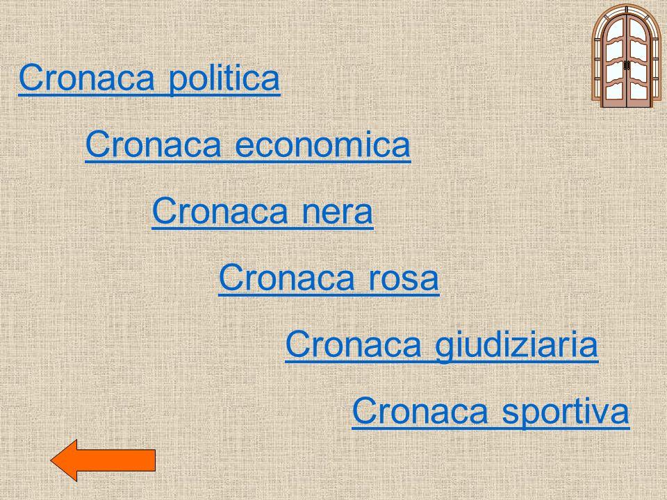Cronaca politica Cronaca economica Cronaca nera Cronaca rosa Cronaca giudiziaria Cronaca sportiva