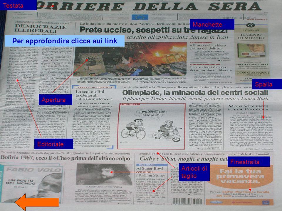 Testata Spalla Apertura Articoli di taglio Editoriale Finestrella Manchette Per approfondire clicca sui link