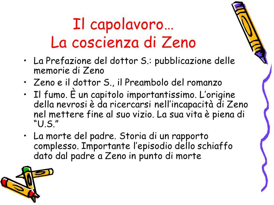 Il capolavoro… La coscienza di Zeno La Prefazione del dottor S.: pubblicazione delle memorie di Zeno Zeno e il dottor S., il Preambolo del romanzo Il