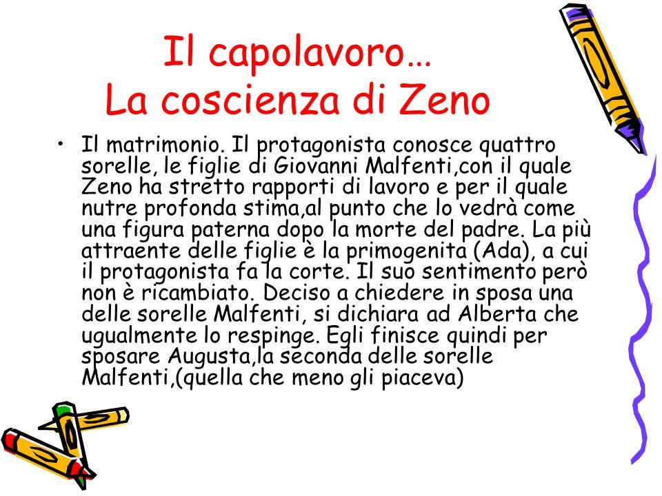 Il capolavoro… La coscienza di Zeno Il matrimonio. Il protagonista conosce quattro sorelle, le figlie di Giovanni Malfenti,con il quale Zeno ha strett