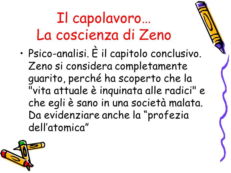 Il capolavoro… La coscienza di Zeno Psico-analisi. È il capitolo conclusivo. Zeno si considera completamente guarito, perché ha scoperto che la