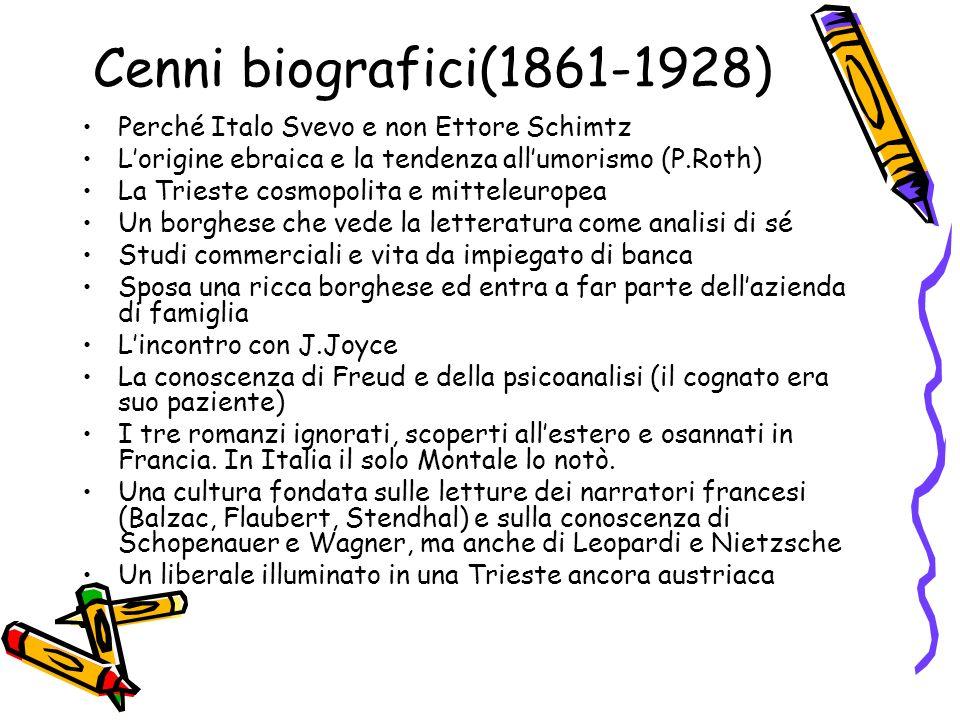 Cenni biografici(1861-1928) Perché Italo Svevo e non Ettore Schimtz Lorigine ebraica e la tendenza allumorismo (P.Roth) La Trieste cosmopolita e mitte