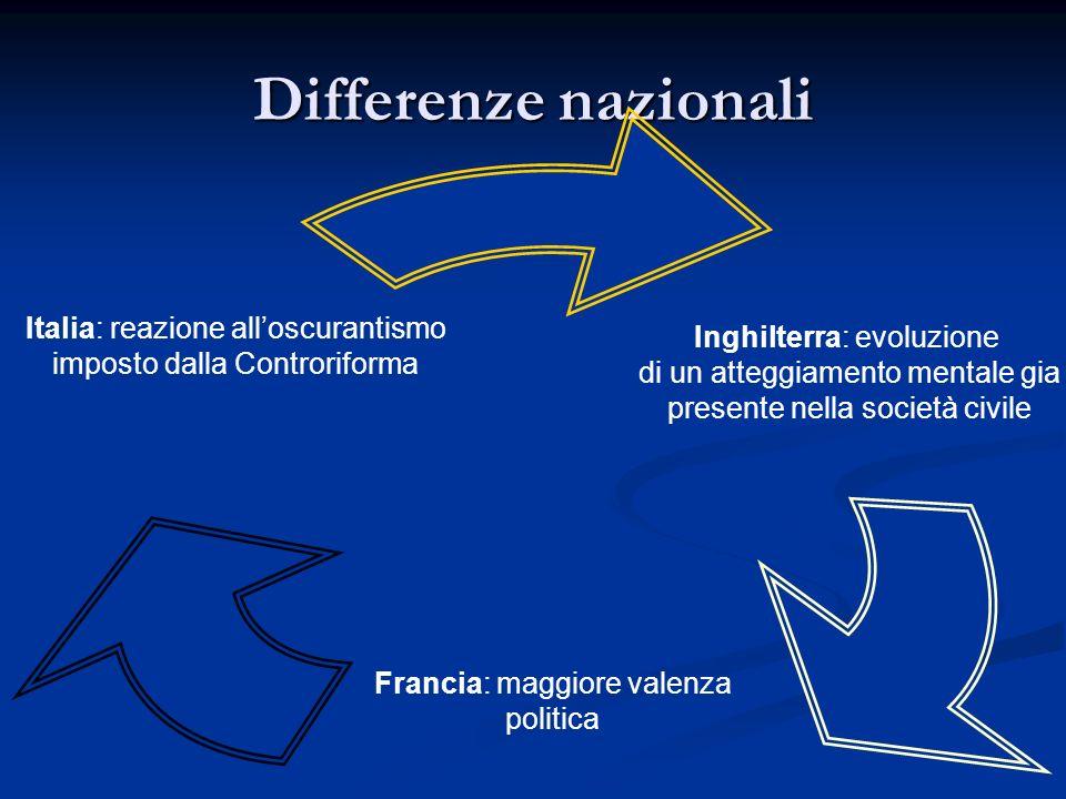 Differenze nazionali Inghilterra: evoluzione di un atteggiamento mentale gia presente nella società civile Francia: maggiore valenza politica Italia: