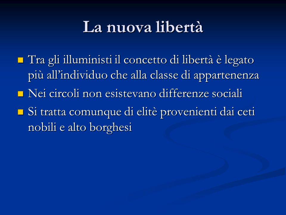La nuova libertà Tra gli illuministi il concetto di libertà è legato più allindividuo che alla classe di appartenenza Tra gli illuministi il concetto