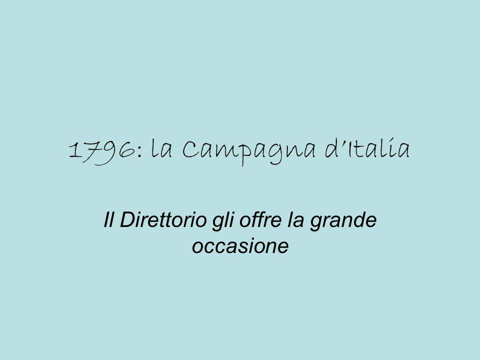 1796: la Campagna dItalia Il Direttorio gli offre la grande occasione