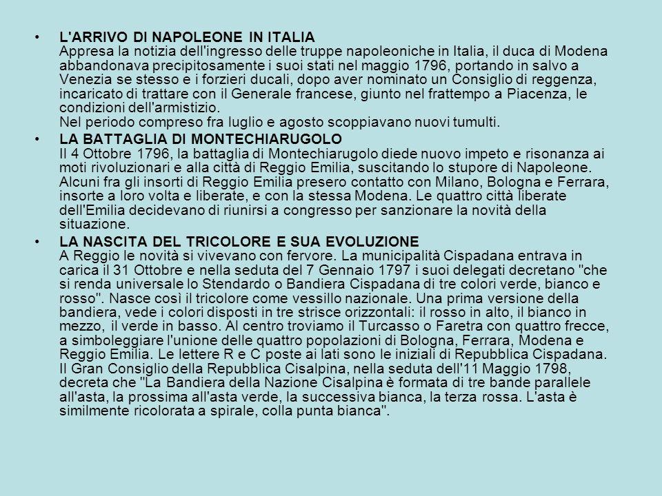 L'ARRIVO DI NAPOLEONE IN ITALIA Appresa la notizia dell'ingresso delle truppe napoleoniche in Italia, il duca di Modena abbandonava precipitosamente i