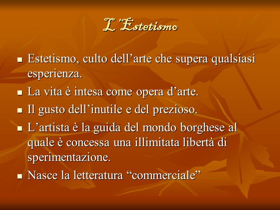LEstetismo Estetismo, culto dellarte che supera qualsiasi esperienza. Estetismo, culto dellarte che supera qualsiasi esperienza. La vita è intesa come