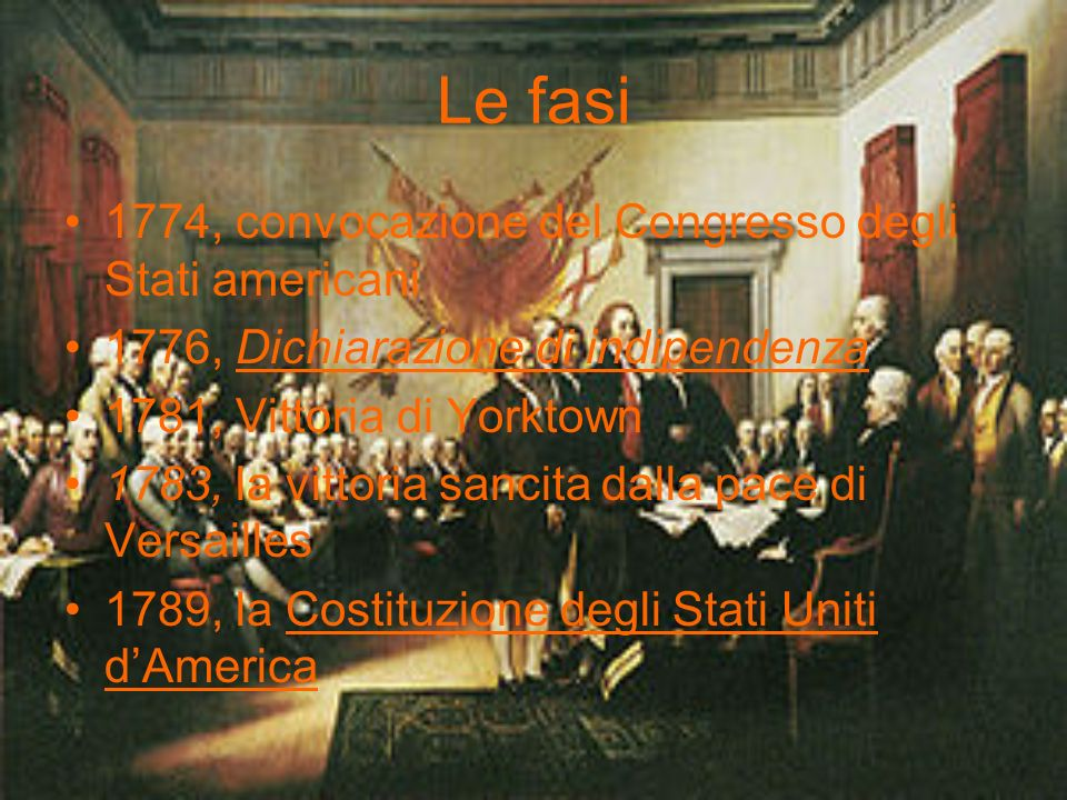 Le fasi 1774, convocazione del Congresso degli Stati americani 1776, Dichiarazione di indipendenza 1781, Vittoria di Yorktown 1783, la vittoria sancit