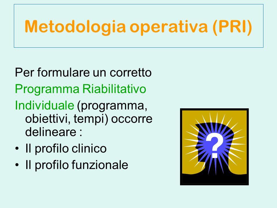Per formulare un corretto Programma Riabilitativo Individuale (programma, obiettivi, tempi) occorre delineare : Il profilo clinico Il profilo funzionale Metodologia operativa (PRI)