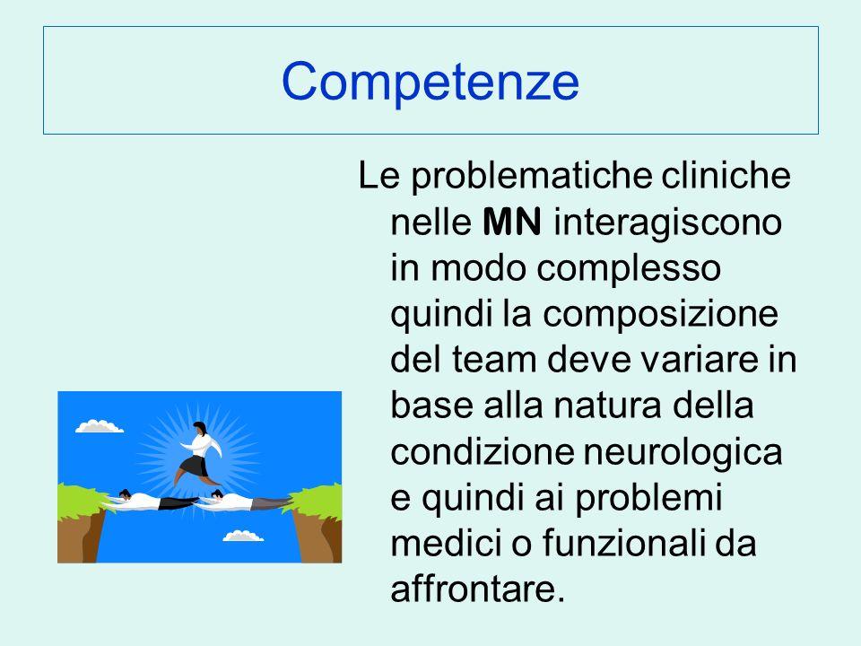 Competenze Le problematiche cliniche nelle MN interagiscono in modo complesso quindi la composizione del team deve variare in base alla natura della condizione neurologica e quindi ai problemi medici o funzionali da affrontare.
