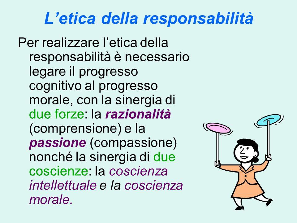 Letica della responsabilità Per realizzare letica della responsabilità è necessario legare il progresso cognitivo al progresso morale, con la sinergia di due forze: la razionalità (comprensione) e la passione (compassione) nonché la sinergia di due coscienze: la coscienza intellettuale e la coscienza morale.