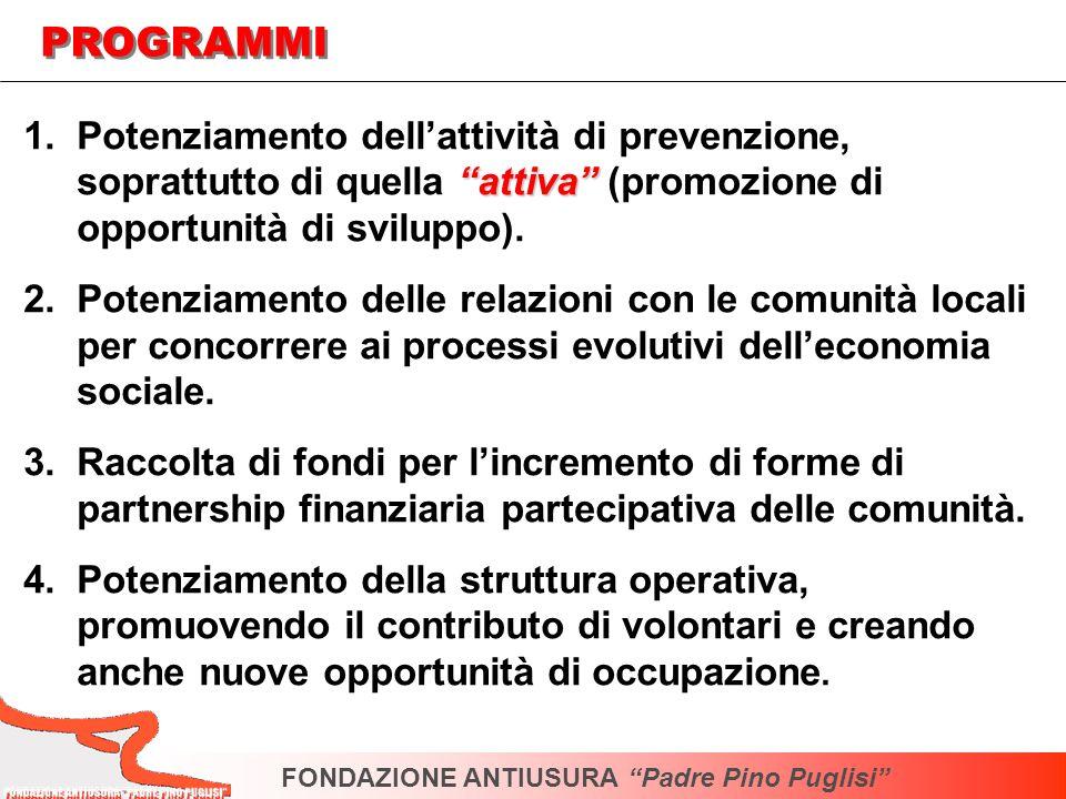 attiva 1.Potenziamento dellattività di prevenzione, soprattutto di quella attiva (promozione di opportunità di sviluppo). 2.Potenziamento delle relazi