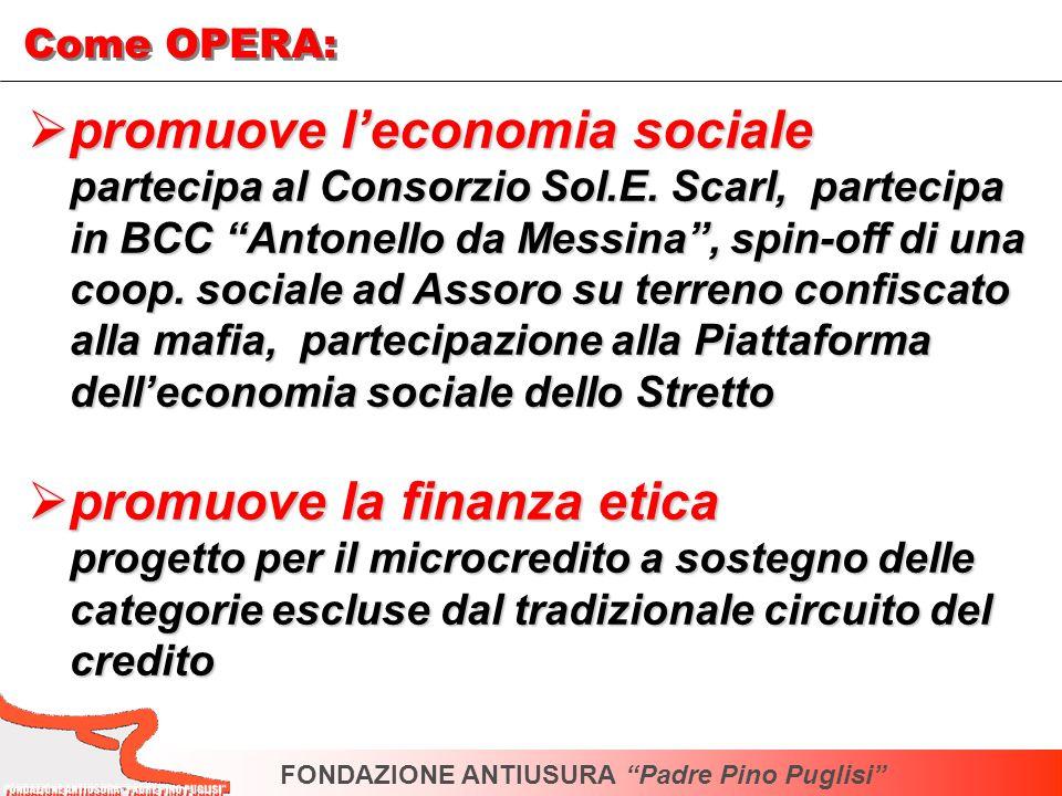 promuove leconomia sociale promuove leconomia sociale partecipa al Consorzio Sol.E. Scarl, partecipa in BCC Antonello da Messina, spin-off di una coop