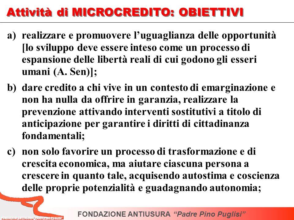Attività di MICROCREDITO: OBIETTIVI a)realizzare e promuovere luguaglianza delle opportunità [lo sviluppo deve essere inteso come un processo di espan