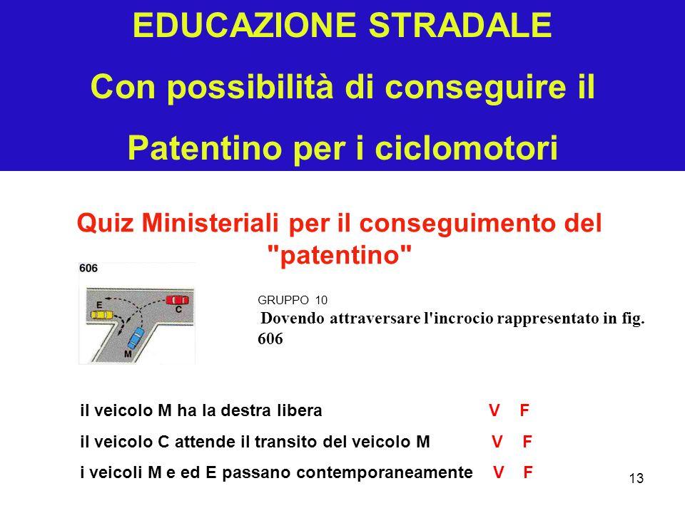 EDUCAZIONE STRADALE Con possibilità di conseguire il Patentino per i ciclomotori Quiz Ministeriali per il conseguimento del