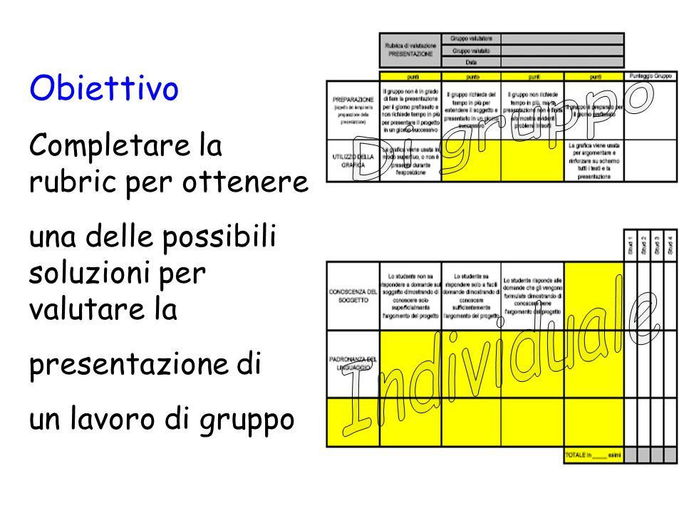 Obiettivo Completare la rubric per ottenere una delle possibili soluzioni per valutare la presentazione di un lavoro di gruppo