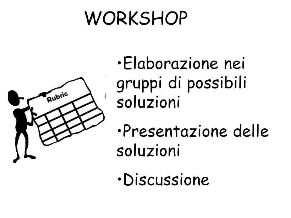 WORKSHOP Elaborazione nei gruppi di possibili soluzioni Presentazione delle soluzioni Discussione
