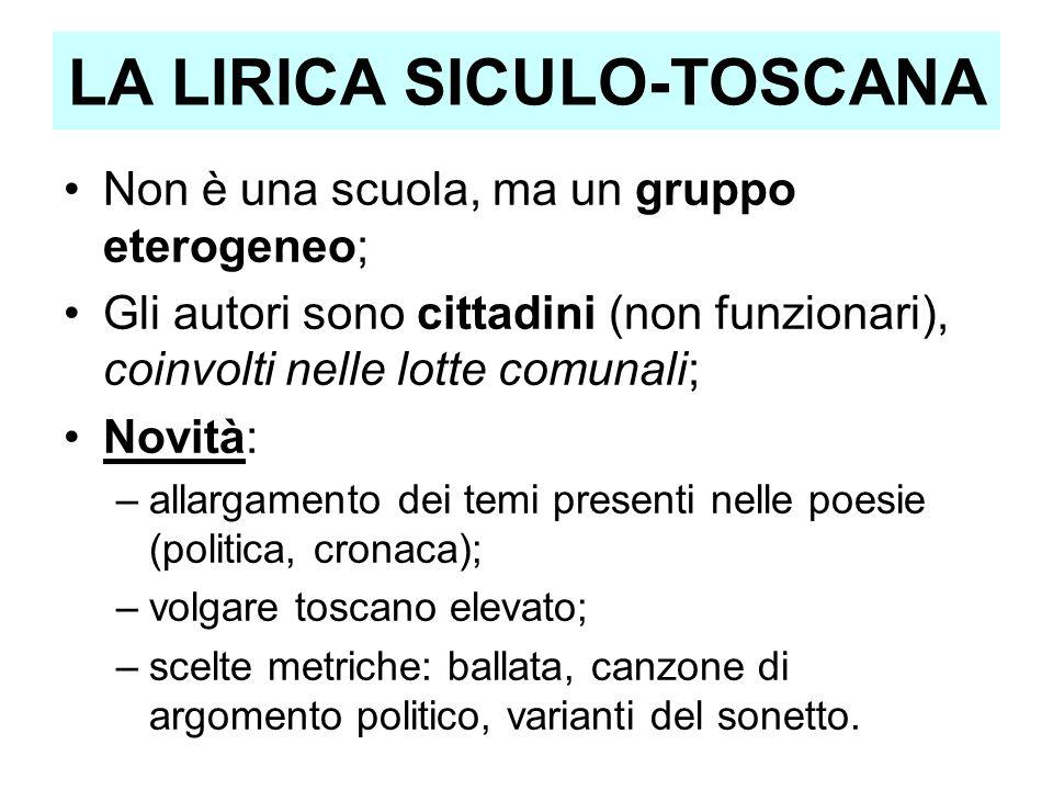 LA LIRICA SICULO-TOSCANA Non è una scuola, ma un gruppo eterogeneo; Gli autori sono cittadini (non funzionari), coinvolti nelle lotte comunali; Novità