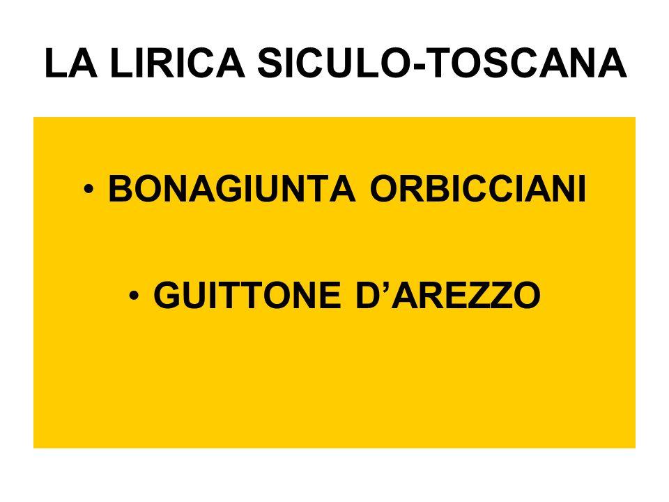 LA LIRICA SICULO-TOSCANA BONAGIUNTA ORBICCIANI GUITTONE DAREZZO