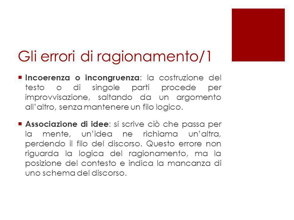 Gli errori di ragionamento/1 Incoerenza o incongruenza : la costruzione del testo o di singole parti procede per improvvisazione, saltando da un argom