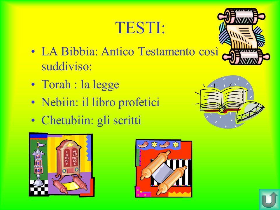 TESTI: LA Bibbia: Antico Testamento così suddiviso: Torah : la legge Nebiin: il libro profetici Chetubiin: gli scritti