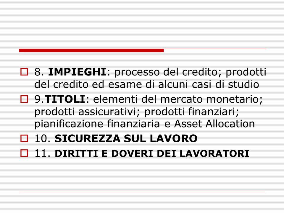 8. IMPIEGHI: processo del credito; prodotti del credito ed esame di alcuni casi di studio 9.TITOLI: elementi del mercato monetario; prodotti assicurat