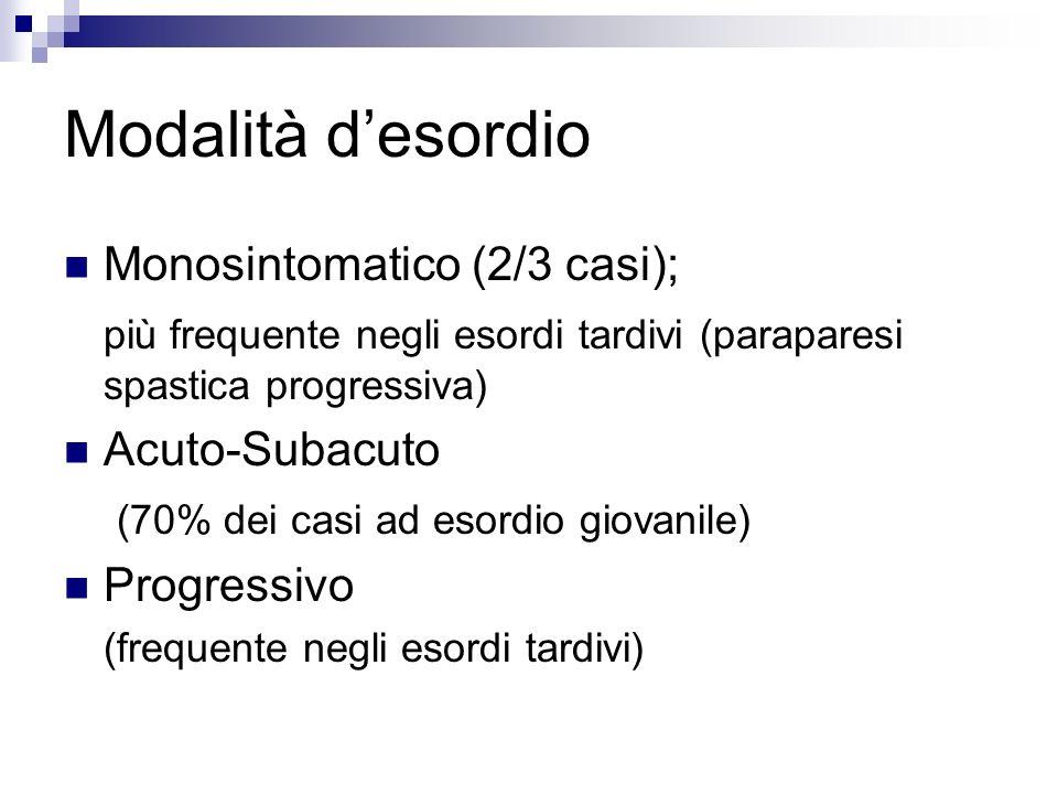 Modalità desordio Monosintomatico (2/3 casi); più frequente negli esordi tardivi (paraparesi spastica progressiva) Acuto-Subacuto (70% dei casi ad eso