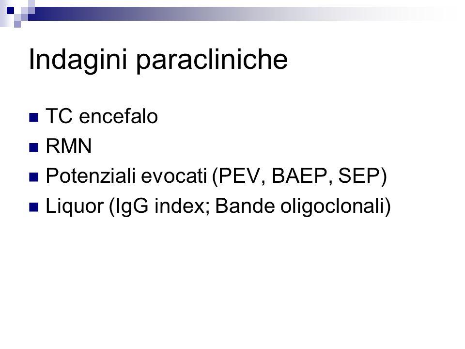 Indagini paracliniche TC encefalo RMN Potenziali evocati (PEV, BAEP, SEP) Liquor (IgG index; Bande oligoclonali)