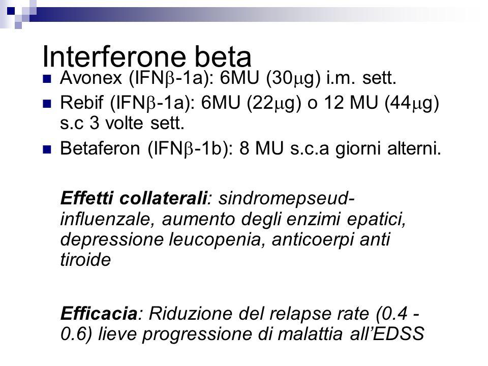 Interferone beta Avonex (IFN -1a): 6MU (30 g) i.m. sett. Rebif (IFN -1a): 6MU (22 g) o 12 MU (44 g) s.c 3 volte sett. Betaferon (IFN -1b): 8 MU s.c.a