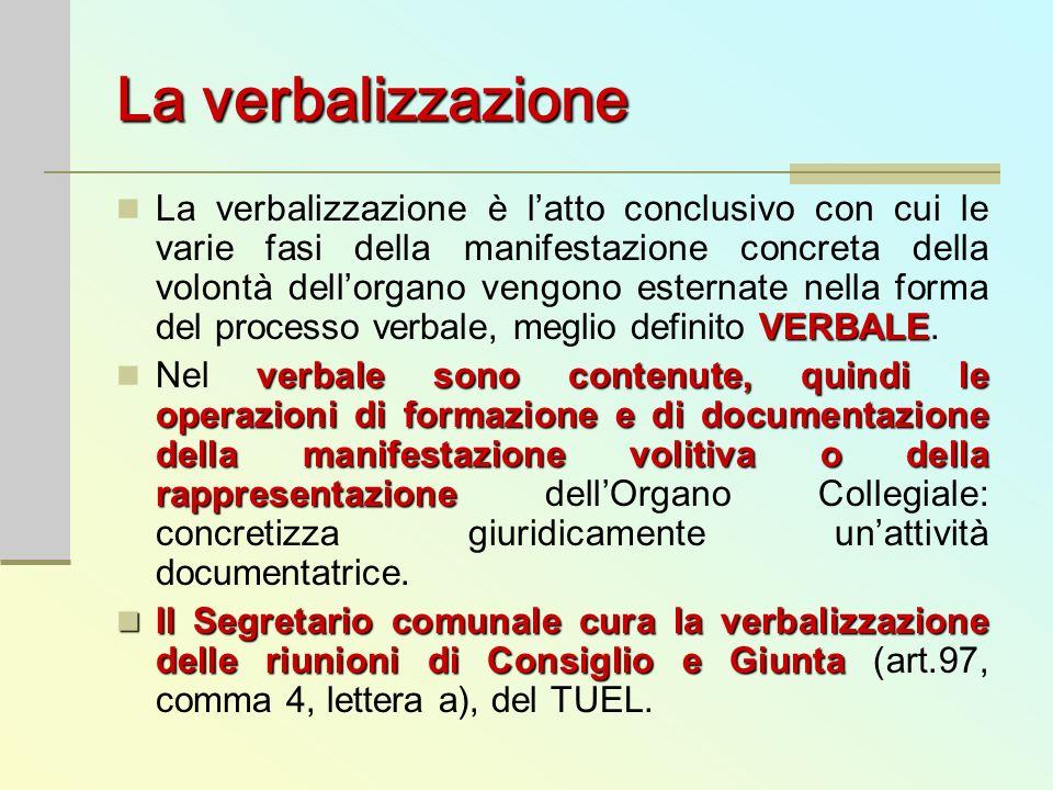 La verbalizzazione VERBALE La verbalizzazione è latto conclusivo con cui le varie fasi della manifestazione concreta della volontà dellorgano vengono