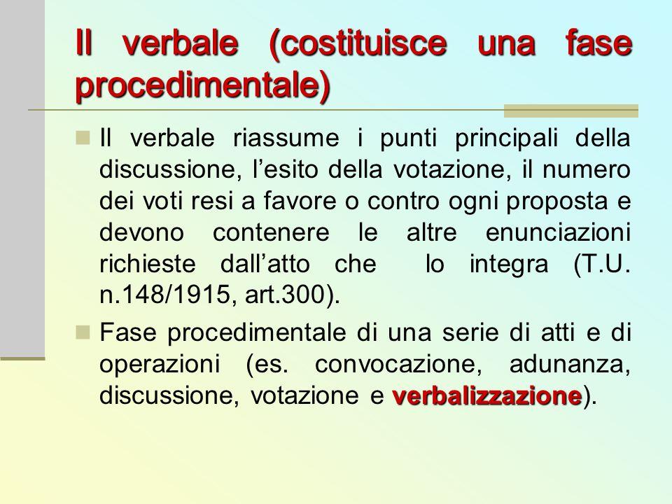 Il verbale(costituisce una fase procedimentale) Il verbale (costituisce una fase procedimentale) Il verbale riassume i punti principali della discussi