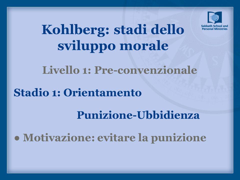 Livello 1: Pre-convenzionale Stadio 1: Orientamento Punizione-Ubbidienza Motivazione: evitare la punizione Kohlberg: stadi dello sviluppo morale