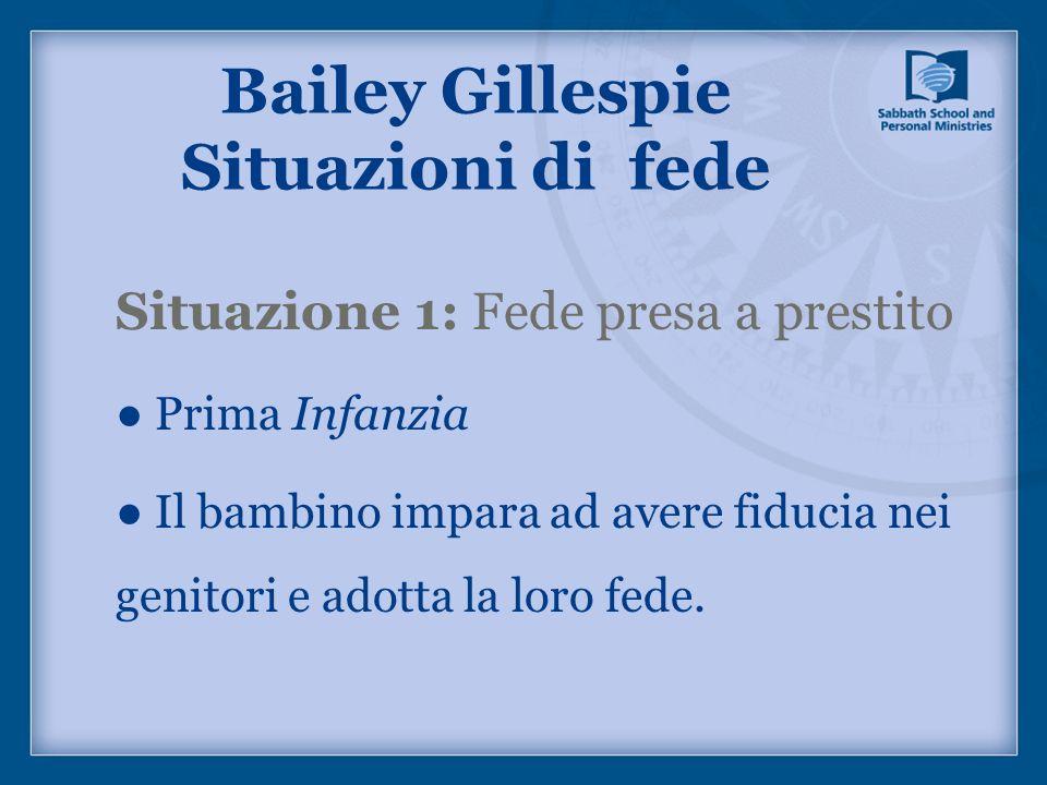 Bailey Gillespie Situazioni di fede Situazione 1: Fede presa a prestito Prima Infanzia Il bambino impara ad avere fiducia nei genitori e adotta la lor