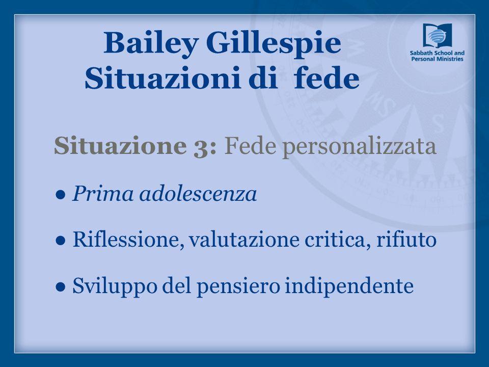 Situazione 3: Fede personalizzata Prima adolescenza Riflessione, valutazione critica, rifiuto Sviluppo del pensiero indipendente Bailey Gillespie Situ