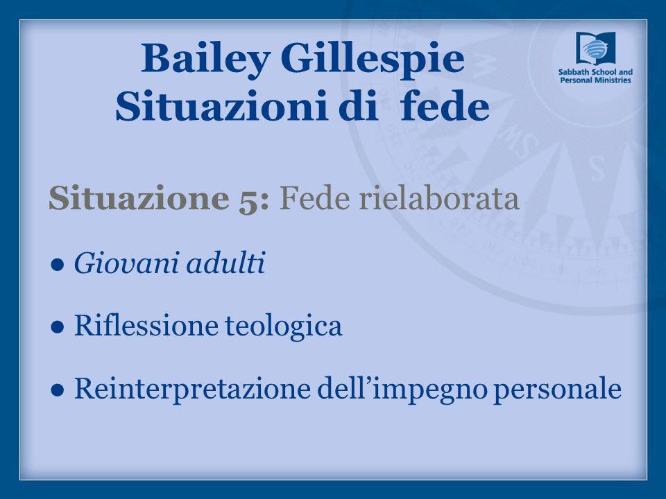 Situazione 5: Fede rielaborata Giovani adulti Riflessione teologica Reinterpretazione dellimpegno personale Bailey Gillespie Situazioni di fede