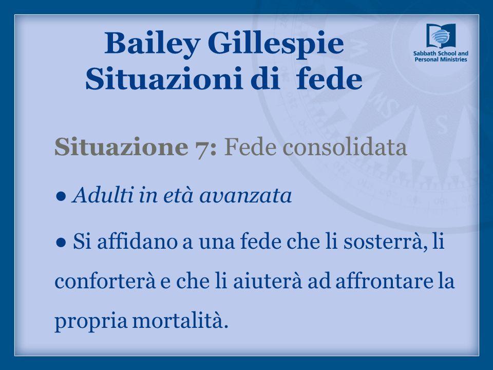 Situazione 7: Fede consolidata Adulti in età avanzata Si affidano a una fede che li sosterrà, li conforterà e che li aiuterà ad affrontare la propria