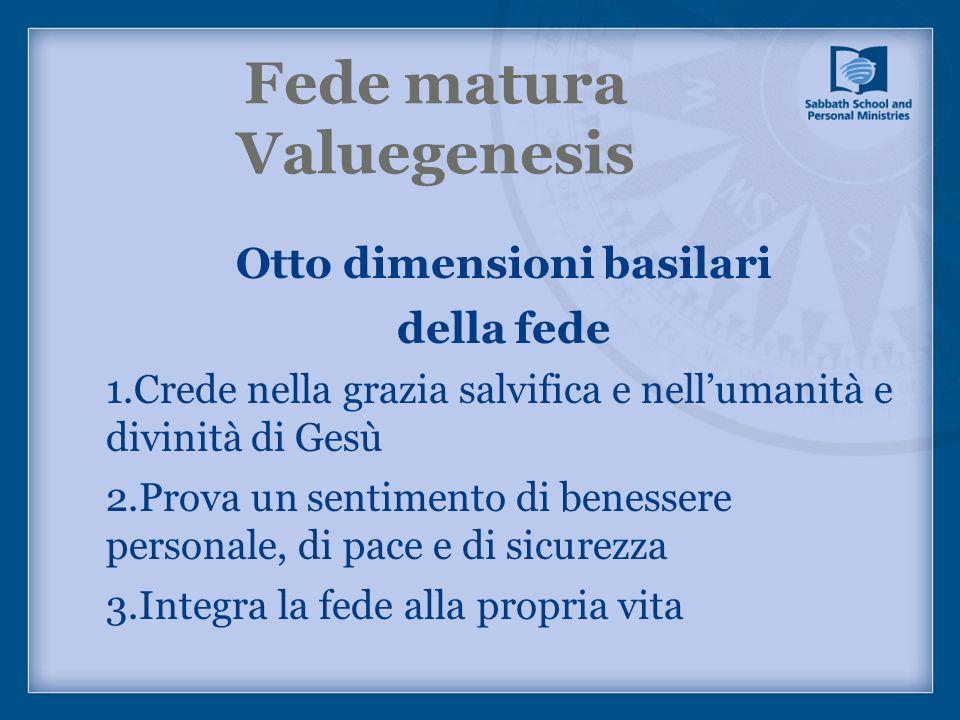 Fede matura Valuegenesis Otto dimensioni basilari della fede 1.Crede nella grazia salvifica e nellumanità e divinità di Gesù 2.Prova un sentimento di