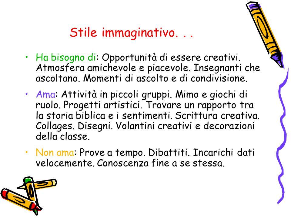 Stile immaginativo...Ha bisogno di: Opportunità di essere creativi.
