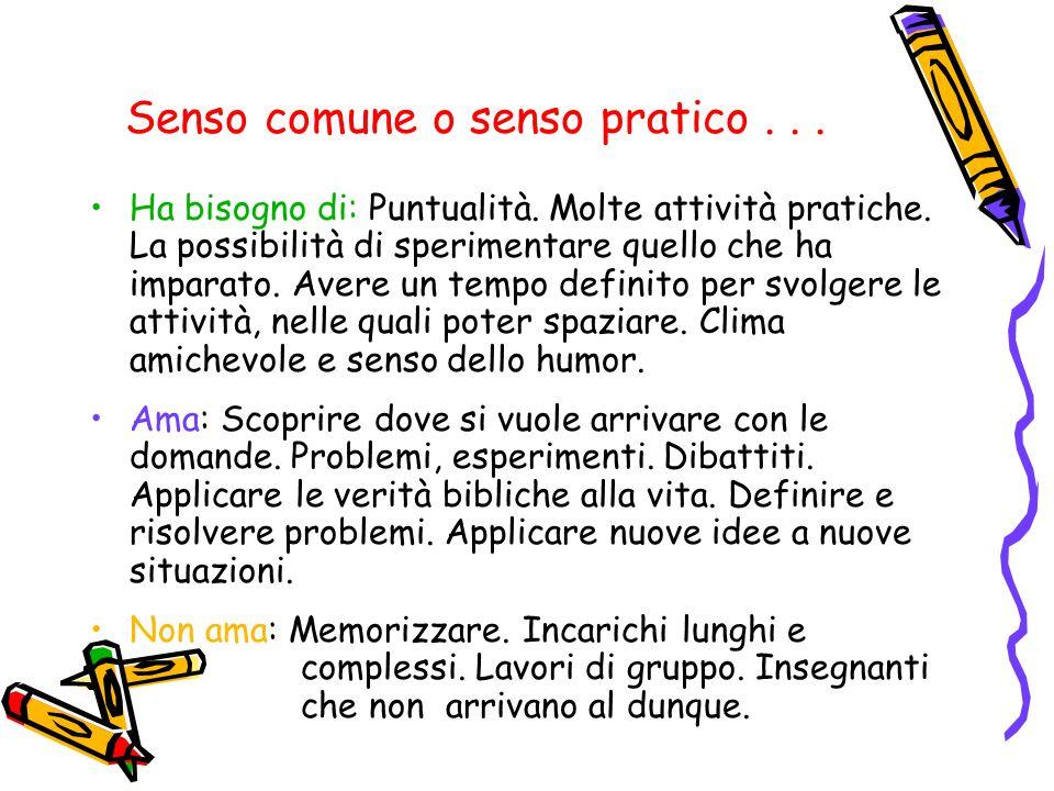 Apprendimento Dinamico...Ha bisogno di: Apprendimento che coinvolga i cinque sensi.