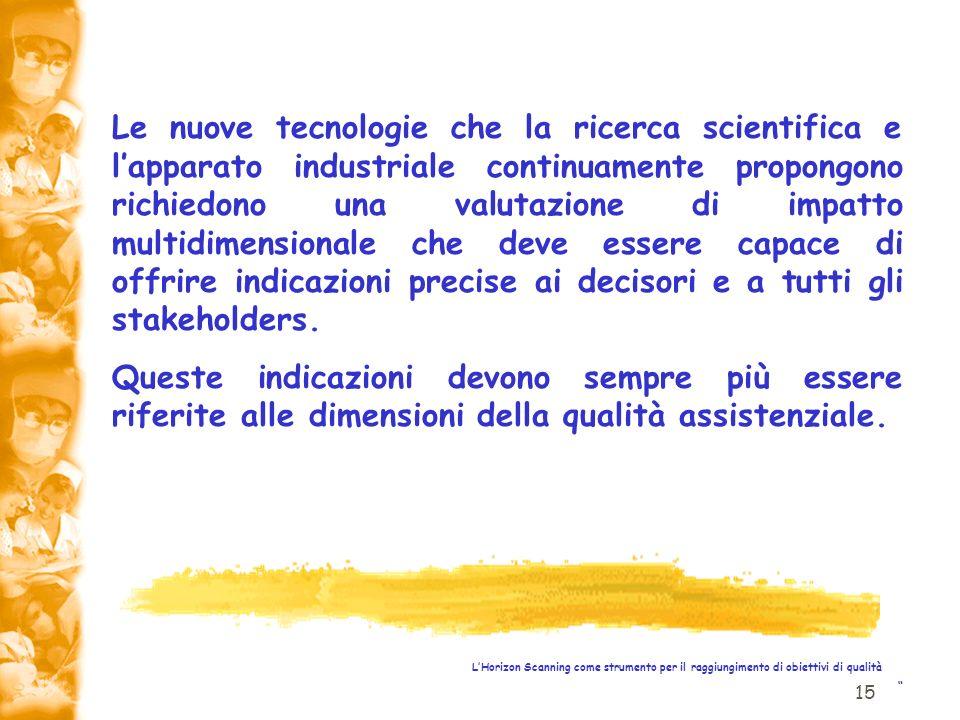 15 LHorizon Scanning come strumento per il raggiungimento di obiettivi di qualità Le nuove tecnologie che la ricerca scientifica e lapparato industria