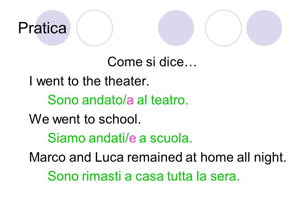 Pratica Come si dice… I went to the theater.Sono andato/a al teatro.