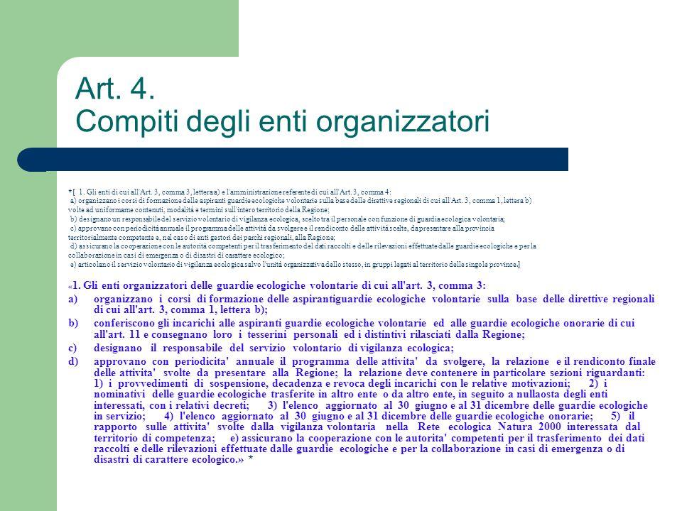 Art. 4. Compiti degli enti organizzatori *[ 1. Gli enti di cui all'Art. 3, comma 3, lettera a) e l'amministrazione referente di cui all'Art. 3, comma