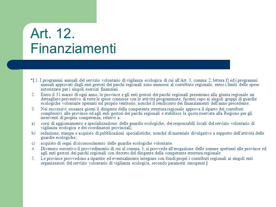 Art. 12. Finanziamenti *[ 1. I programmi annuali del servizio volontario di vigilanza ecologica di cui all'Art. 3, comma 2, lettera f) ed i programmi