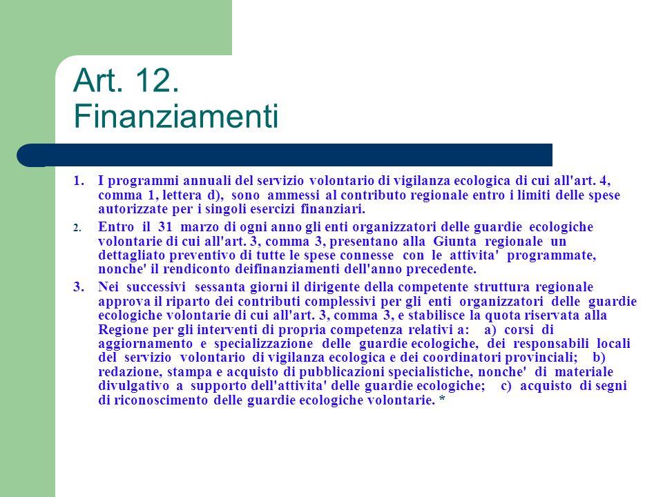 Art. 12. Finanziamenti 1.I programmi annuali del servizio volontario di vigilanza ecologica di cui all'art. 4, comma 1, lettera d), sono ammessi al co
