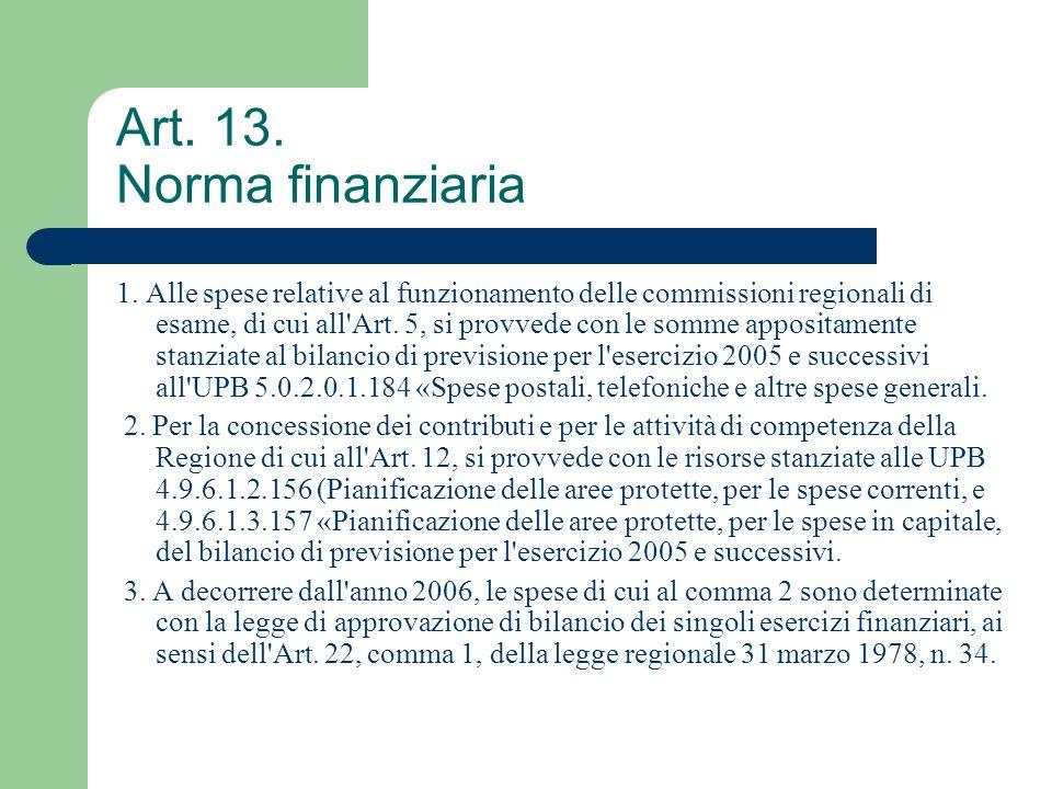 Art. 13. Norma finanziaria 1. Alle spese relative al funzionamento delle commissioni regionali di esame, di cui all'Art. 5, si provvede con le somme a