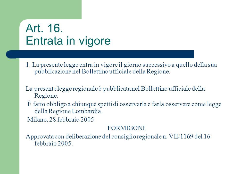 Art. 16. Entrata in vigore 1. La presente legge entra in vigore il giorno successivo a quello della sua pubblicazione nel Bollettino ufficiale della R