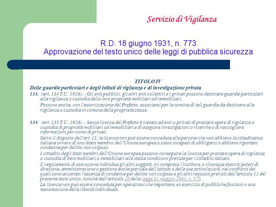 R.D. 18 giugno 1931, n. 773 Approvazione del testo unico delle leggi di pubblica sicurezza TITOLO IV Delle guardie particolari e degli istituti di vig